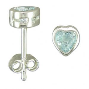 Charm School UK > Sterling Silver Earrings > Blue Topaz Heart